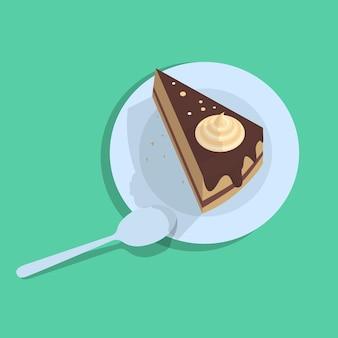 Ilustracja płaski kawałek ciasta z łyżką i cieniem