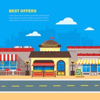 Ilustracja płaski kawiarnia i restauracja
