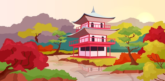 Ilustracja płaski kolor azjatyckiej pagody
