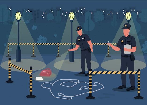 Ilustracja płaski kolor dochodzenia w sprawie przestępczości