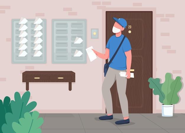 Ilustracja płaski kolor dostawy poczty