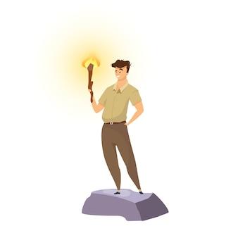 Ilustracja płaski kolor explorer. poszukiwacz przygód z pochodnią. mężczyzna stojący z flambeau. venturer uśmiecha się. trailblazer w mundurze khaki. turysta na białym tle postać z kreskówki na białym tle