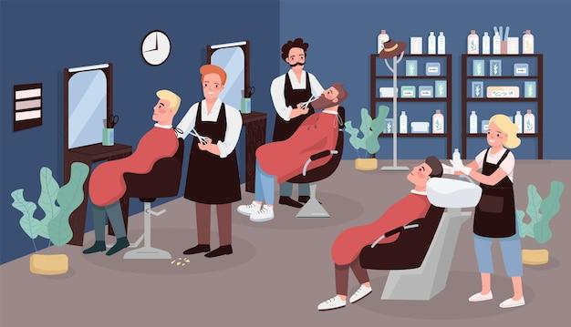 Ilustracja płaski kolor fryzjera. usługa fryzjerska. fryzjerstwo. salon kosmetyczny mężczyzn. kaukaski fryzjerzy robi męską fryzurę postaci z kreskówek 2d z meblami na tle