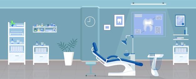 Ilustracja płaski kolor gabinetu dentystycznego