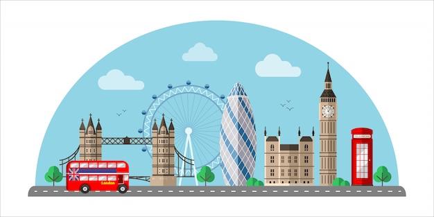 Ilustracja płaski kolor gród londynu