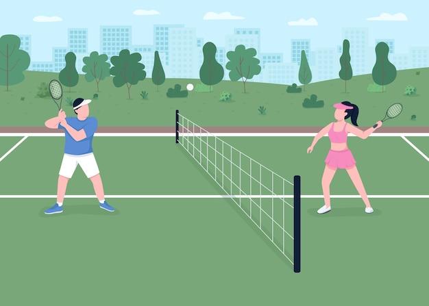 Ilustracja płaski kolor gry w tenisa. zewnętrzne korty na mecz turniejowy. aktywny styl życia. gracz uderzył piłkę nad siatką. sportowiec para postaci z kreskówek 2d z krajobrazem w tle