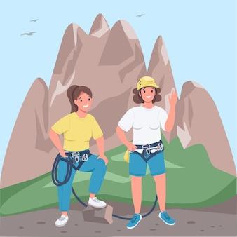 Ilustracja płaski kolor kobiet alpinistów
