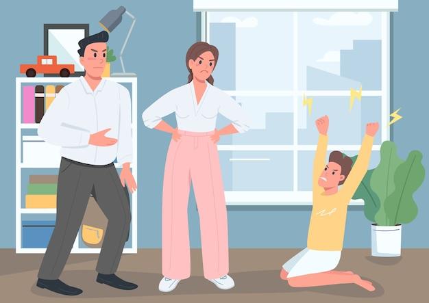 Ilustracja płaski kolor konfliktu rodzinnego