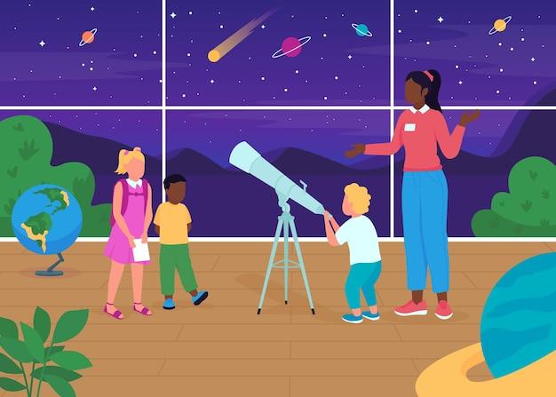 Ilustracja płaski kolor lekcji astronomii
