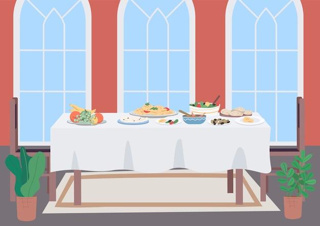 Ilustracja płaski kolor luksusowy stół obiadowy. pokój dzienny na rodzinny posiłek tradycyjny. krajowa kuchnia. dania z jedzeniem i napojami. meble 2d kreskówka obiekt z wnętrzem w tle