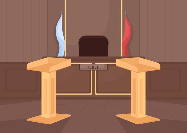 Ilustracja płaski kolor pustej sali sądowej. pozew karny. prokuratura i licznik adwokatów. sprawiedliwość prawna. system legislacyjny. wnętrze budynku sądu 2d kreskówka z trybuną sędziego na tle