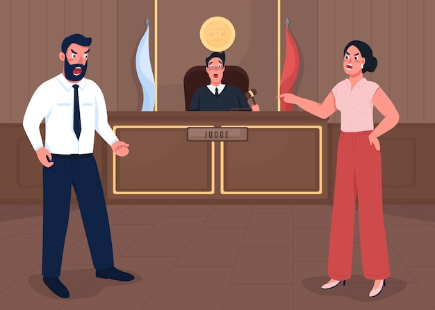 Ilustracja płaski kolor sesji sądowej. werdykt. prawnik prowadzi dochodzenie w sprawie przestępstwa. oficjalny wyrok. adwokat, sędzia i prokurator postaci z kreskówek 2d z budynkiem sądu w tle
