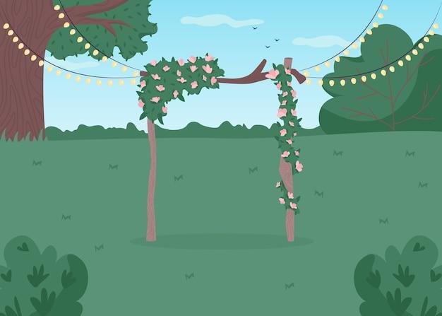 Ilustracja płaski kolor ślubu podwórku