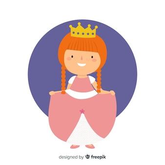 Ilustracja płaski księżniczka imbir