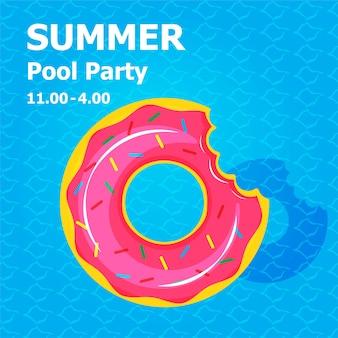 Ilustracja płaski ładny rysunek nadmuchiwanego lub unoszącego się na zaproszeniu koncepcja letniej imprezy przy basenie