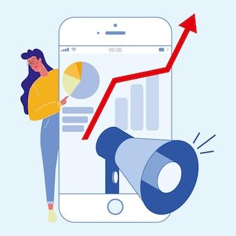 Ilustracja płaski marketing mediów społecznych