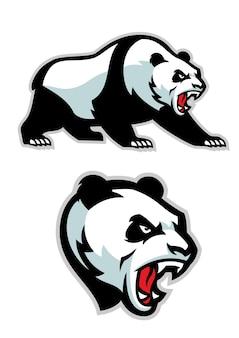 Ilustracja płaski maskotka zły panda