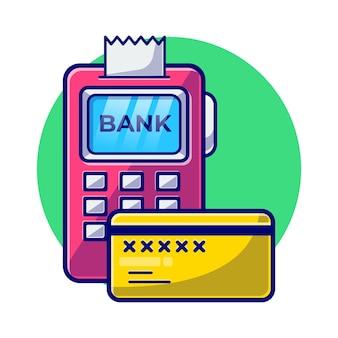 Ilustracja płaski maszyna płatnicza kartą debetową