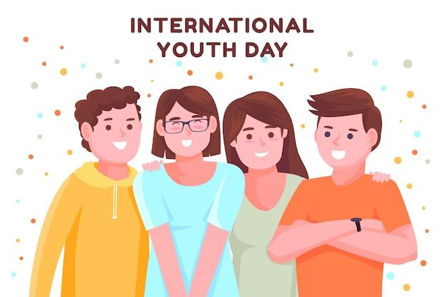 Ilustracja płaski międzynarodowy dzień młodzieży youth