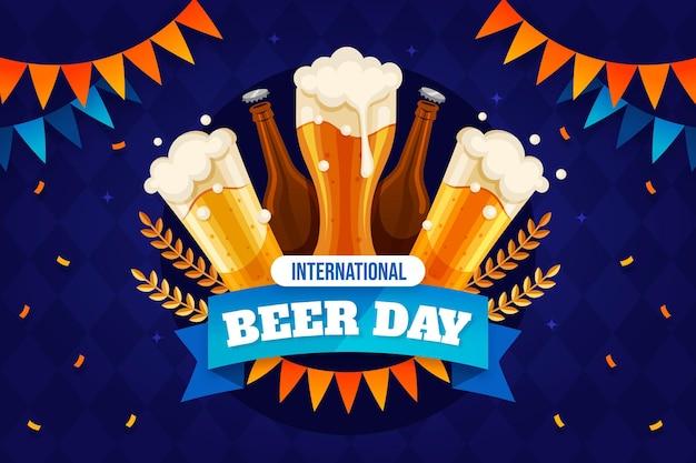 Ilustracja płaski międzynarodowy dzień piwa day