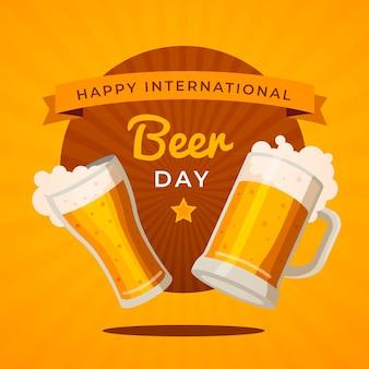 Ilustracja płaski międzynarodowy dzień piwa