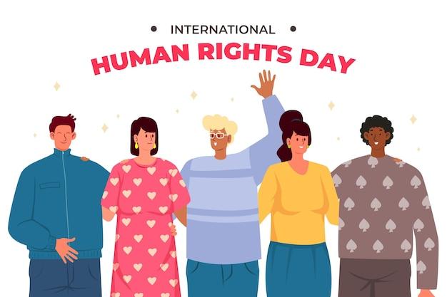 Ilustracja płaski międzynarodowy dzień praw człowieka