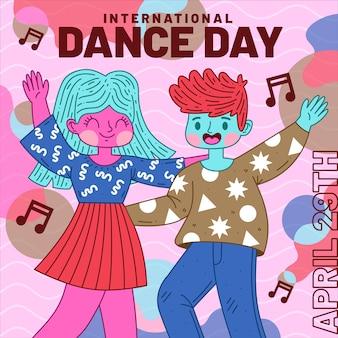 Ilustracja płaski międzynarodowy dzień tańca