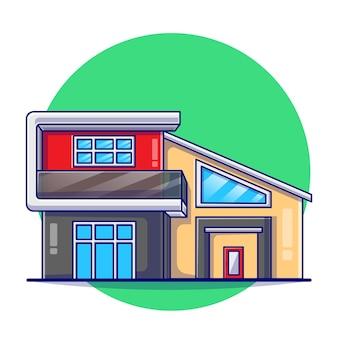 Ilustracja płaski nowoczesny budynek nieruchomości.