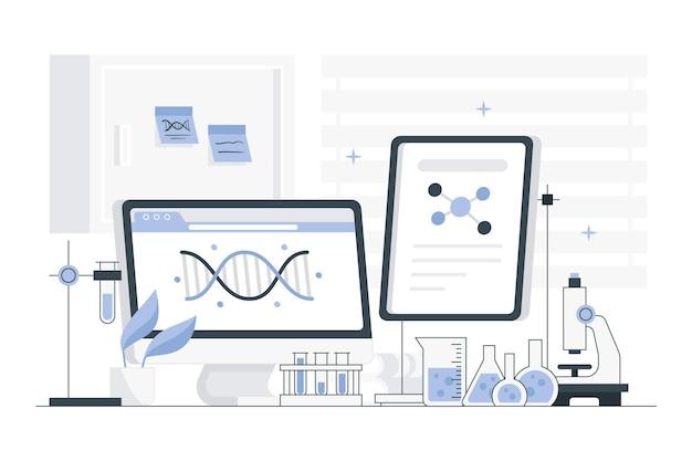 Ilustracja płaski pokój laboratoryjny