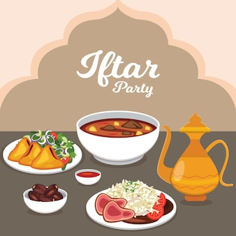 Ilustracja płaski posiłek iftar