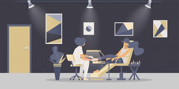 Ilustracja płaski procedura pedicure
