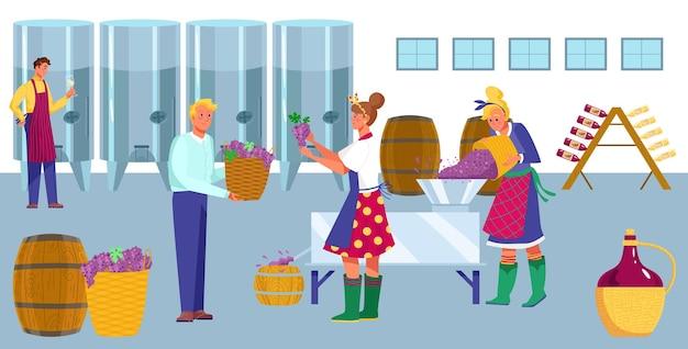 Ilustracja płaski proces produkcji wina w fabryce