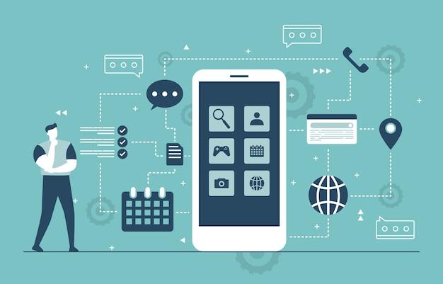 Ilustracja płaski proces rozwoju aplikacji mobilnych
