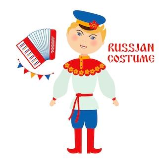 Ilustracja płaski rosyjski strój ludowy. mężczyzna i kobieta ubrana w tradycyjne stroje postaci z kreskówek.