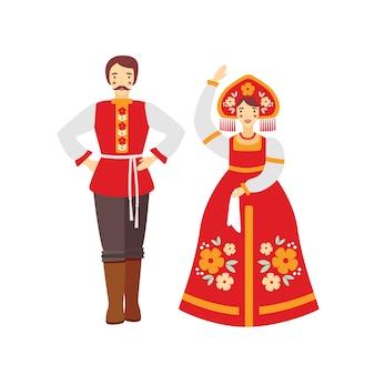 Ilustracja płaski rosyjski strój ludowy. mężczyzna i kobieta w tradycyjnych strojach z kreskówek. dziewczyna w czerwonym sarafanie i narodowym nakryciu głowy, kokoshnik. artyści zespołu tańca ludowego.