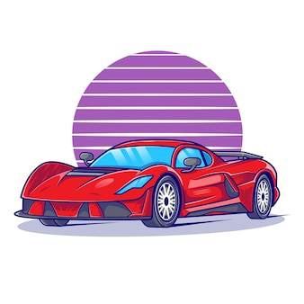 Ilustracja Płaski Samochód Sportowy Premium Wektorów