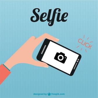 Ilustracja płaski smartfon selfie