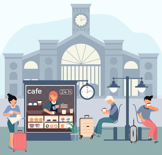 Ilustracja płaski stacji kolejowej kawiarni