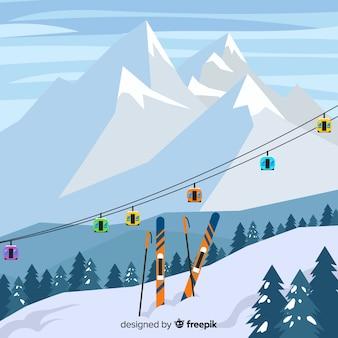 Ilustracja płaski stacji narciarskiej