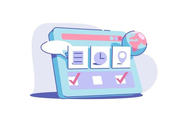 Ilustracja płaski styl użytkowania usługi witryny