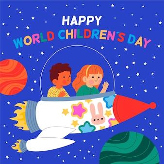 Ilustracja płaski światowy dzień dziecka