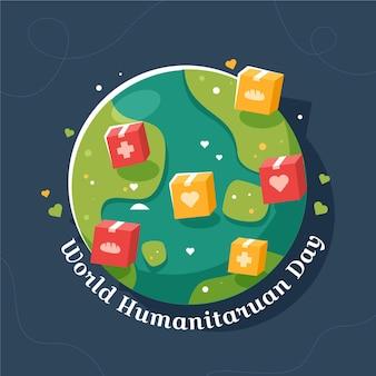 Ilustracja płaski światowy dzień humanitarny