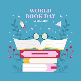 Ilustracja płaski światowy dzień książki