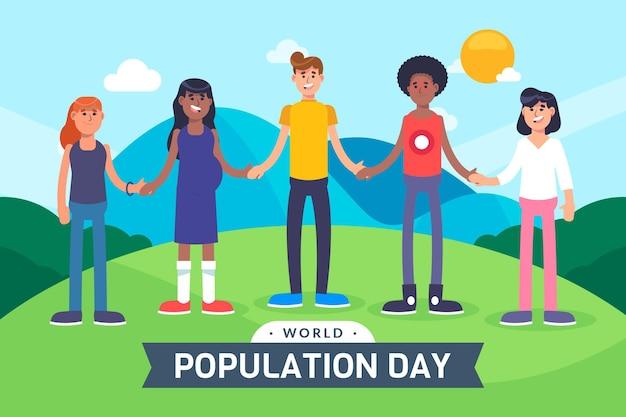 Ilustracja płaski światowy dzień ludności