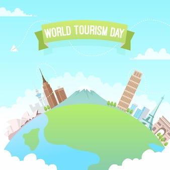 Ilustracja płaski światowy dzień turystyki