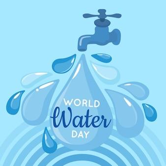 Ilustracja płaski światowy dzień wody