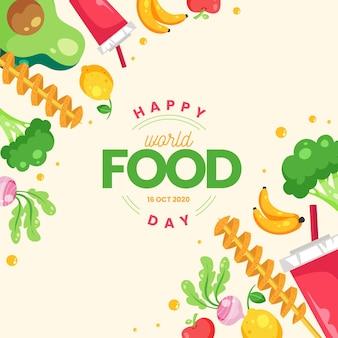 Ilustracja płaski światowy dzień żywności