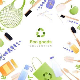 Ilustracja płaski towarów ekologicznych