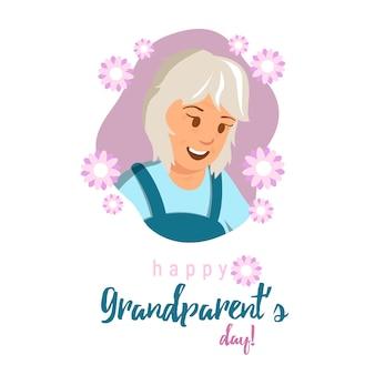 Ilustracja płaski transparent szczęśliwy dzień dziadków.