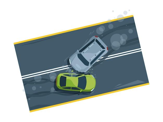 Ilustracja płaski widok z góry wypadek samochodowy